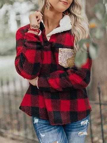 Plaid sequin pocket Sherpa