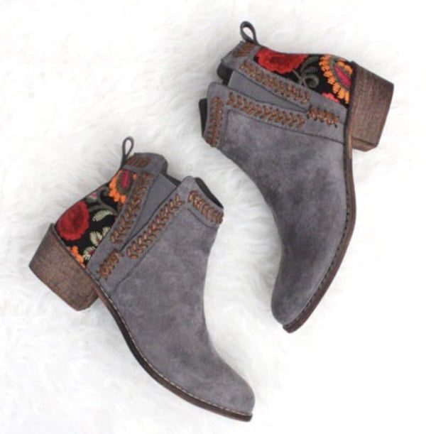 Wild Child Embroidered Booties - Trophy Wife Boutique