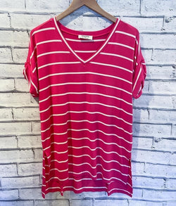 Striped V Neck Top - 2 Colors