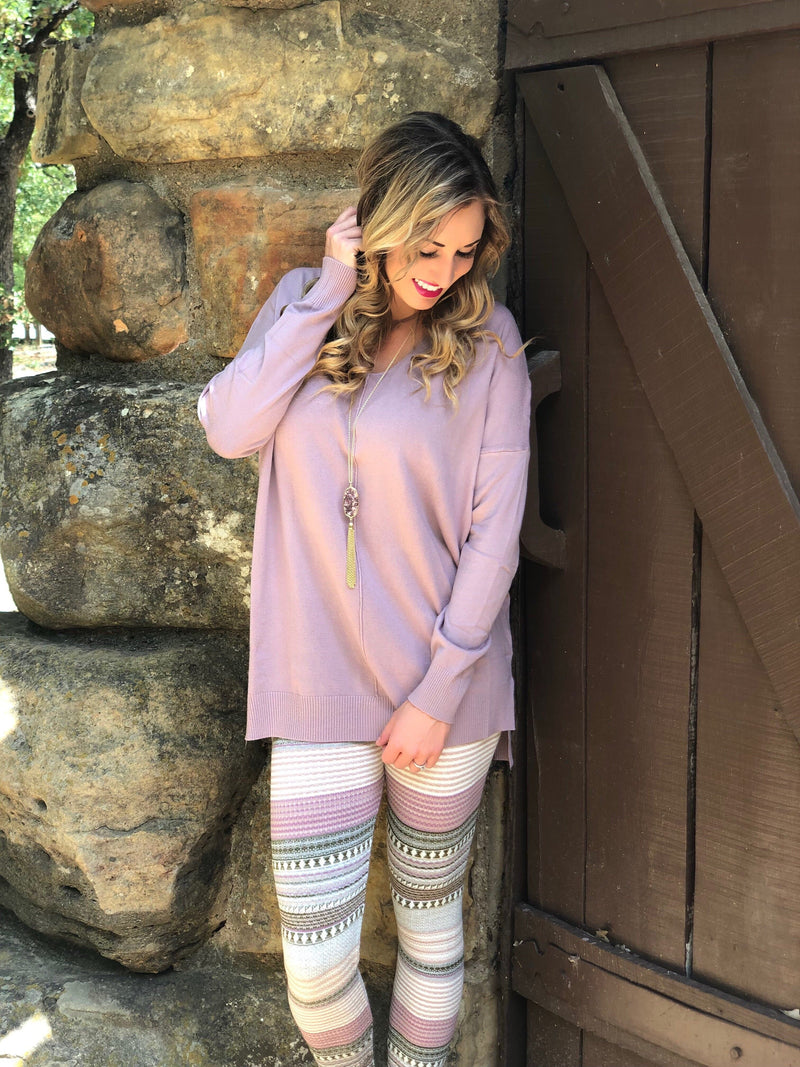 Plum Sweater and Leggings Set