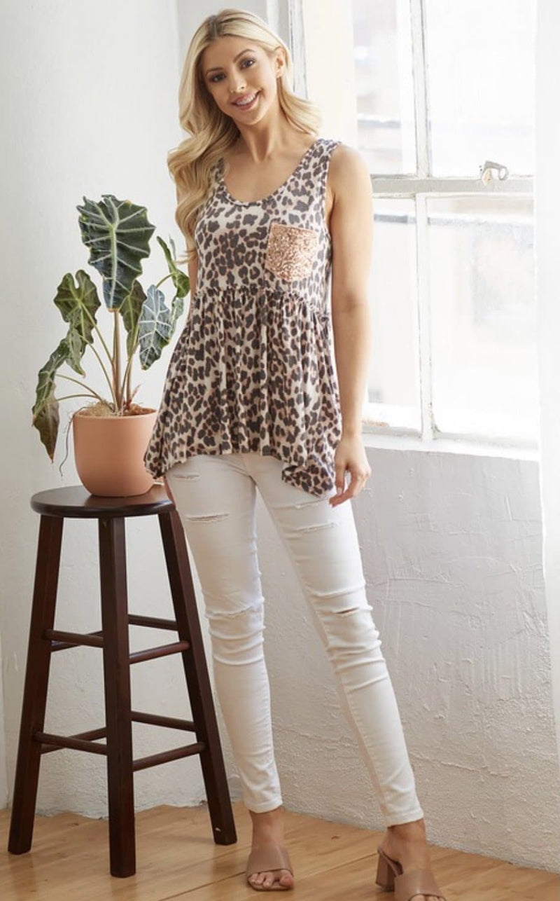 Wild Thing Sequin Pocket Tank
