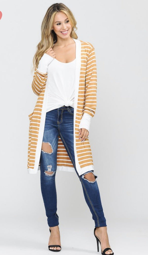 Mustard striped Cardigan - Trophy Wife Boutique