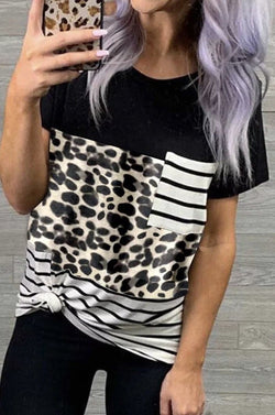 Leopard Striped Colorblock Pocket Tee - Trophy Wife Boutique