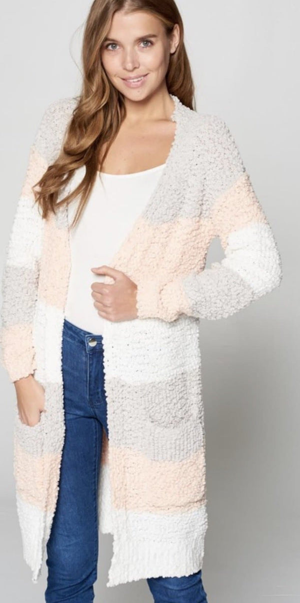 Camilla Striped Popcorn Cardigan