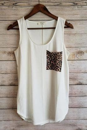 Leopard Pocket Tank - Trophy Wife Boutique