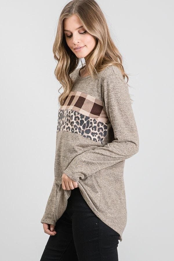 Mocha Plaid Leopard Top WS
