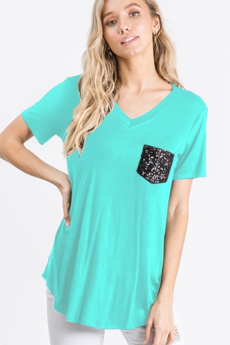 Mint to be Mine Sequin Pocket Tee