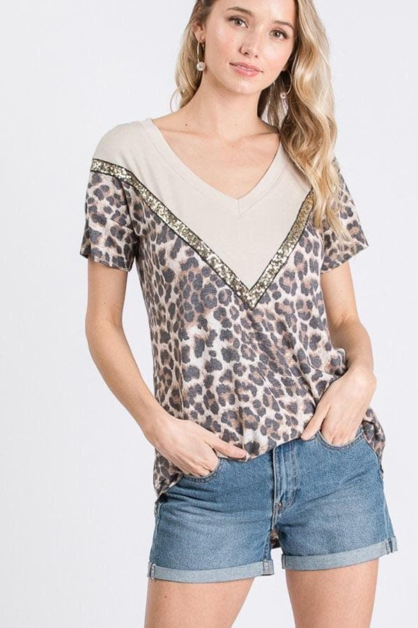 Cream Leopard Sequin Trim Top