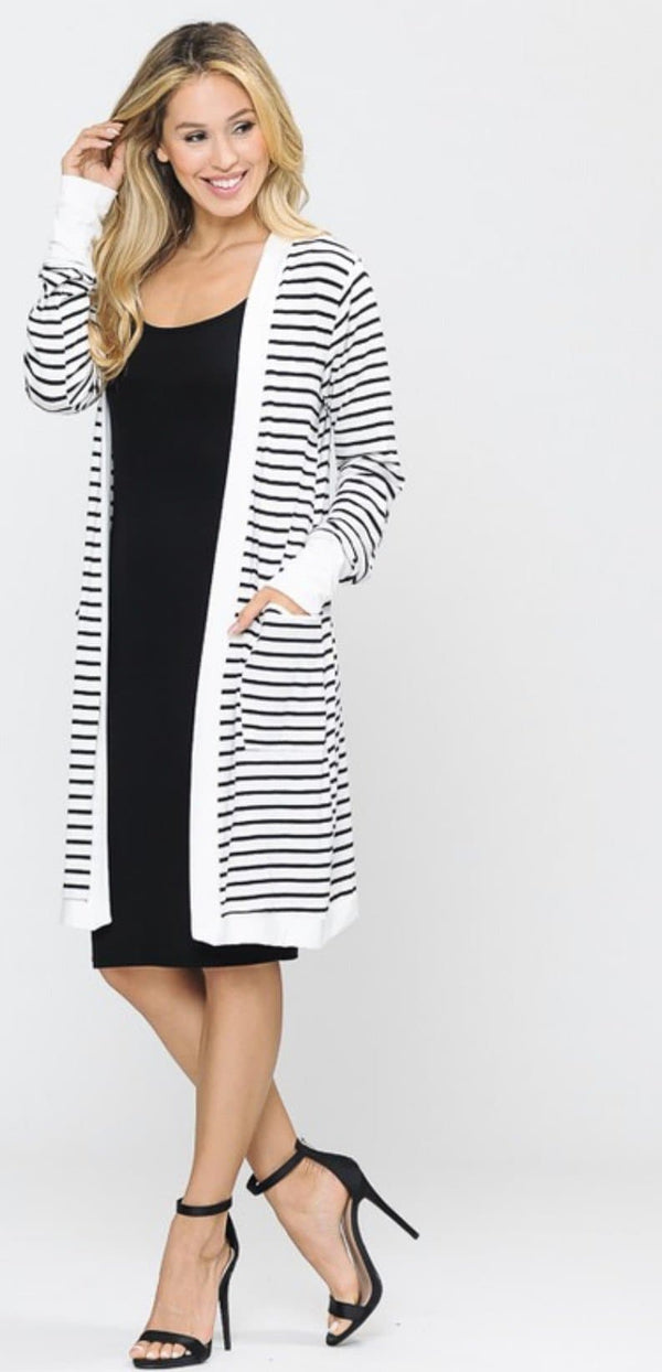 Ivory and Black striped Cardigan - Trophy Wife Boutique