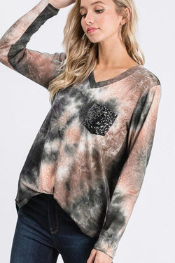 Caramel Tie Dye Sequin Pocket Top WS