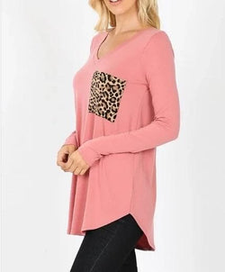 Leopard Pocket Long Sleeve V Tee