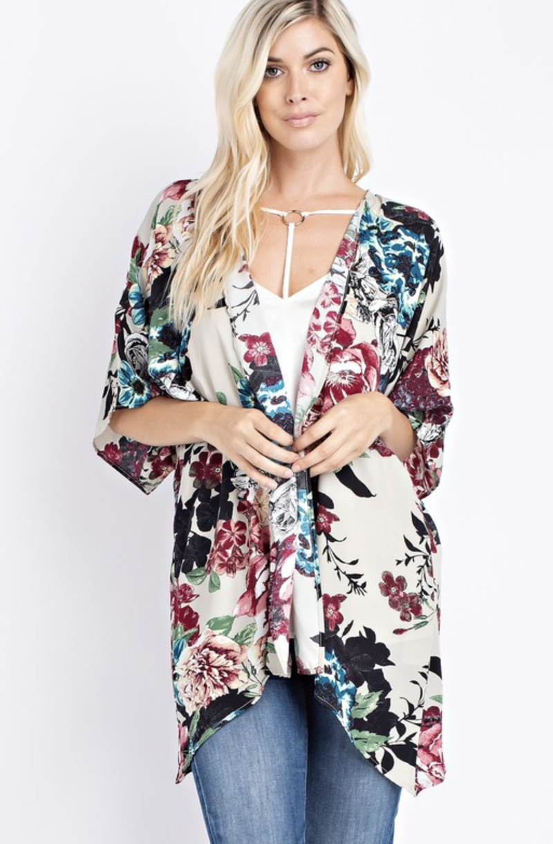 Floral Fields Kimono Set - Teal - Trophy Wife Boutique