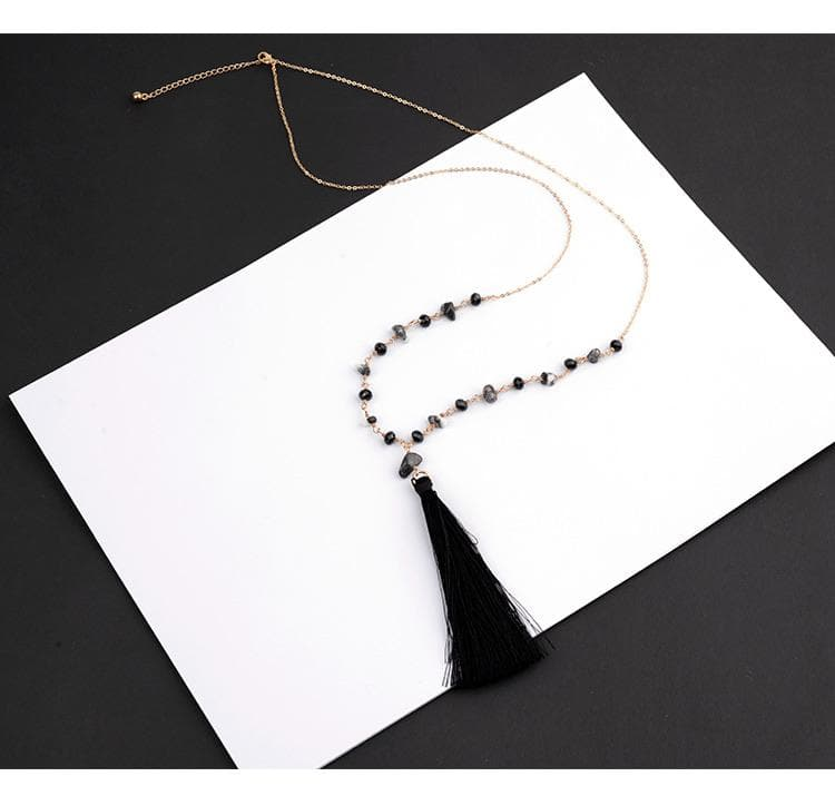 Stone Black Tassel Necklace