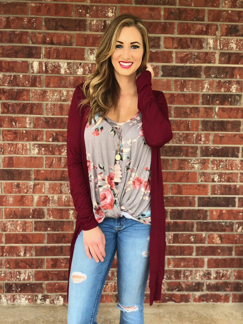 Wine Waterfall Cardigan - Trophy Wife Boutique