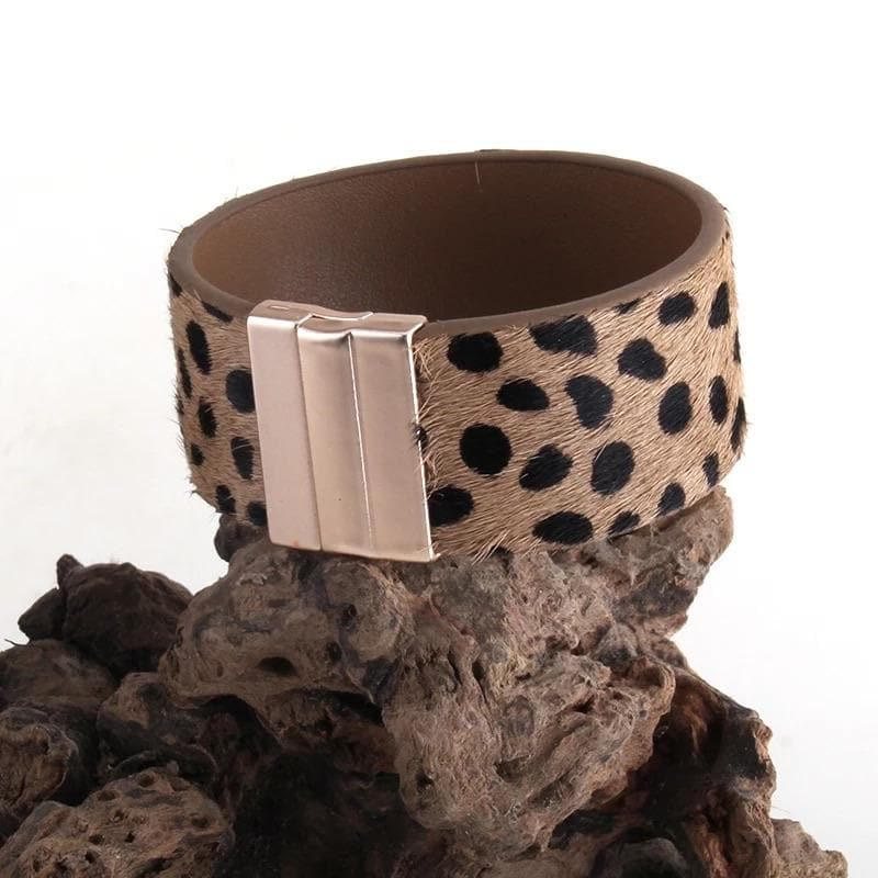Leather Leopard Cuff Bracelet