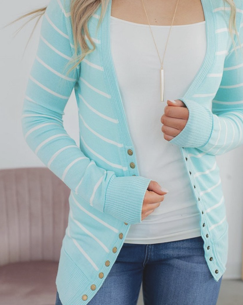 Anna Striped Button Cardigan - Trophy Wife Boutique