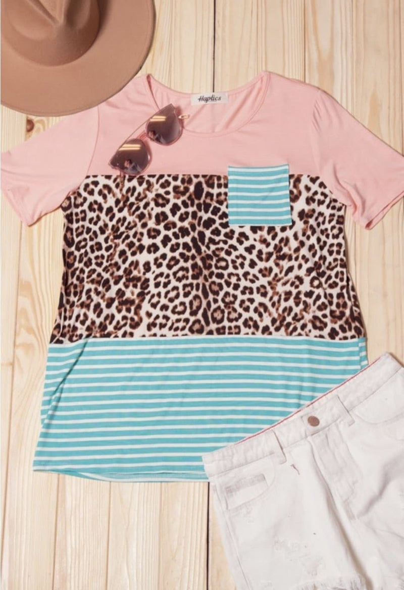 Allison Leopard Colorblock Top - Trophy Wife Boutique