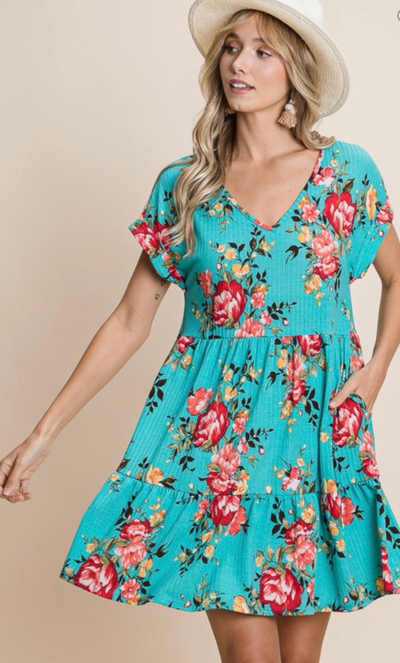Alana Turquoise Floral dress