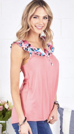 Coral Floral Button Top