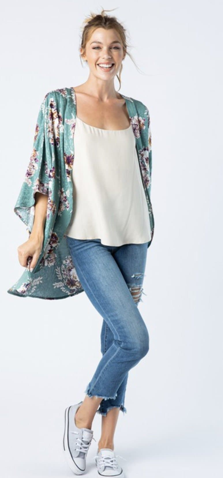 Emerald Fields Floral kimono or set (tee) - Trophy Wife Boutique
