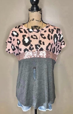Pink Charcoal Leopard Sequin Top