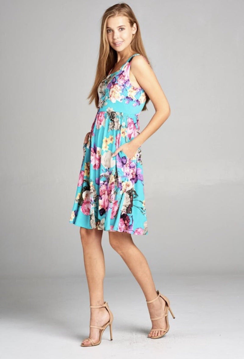 Ashelle Turquoise Floral Dress - Trophy Wife Boutique