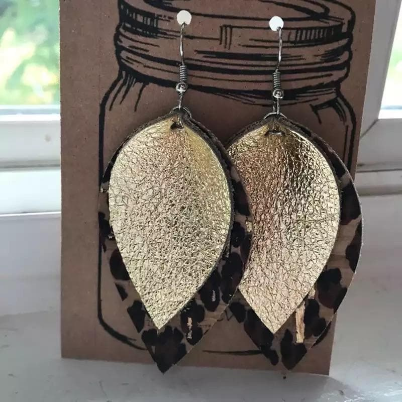 Leopard Gold Leather Earrings - Trophy Wife Boutique