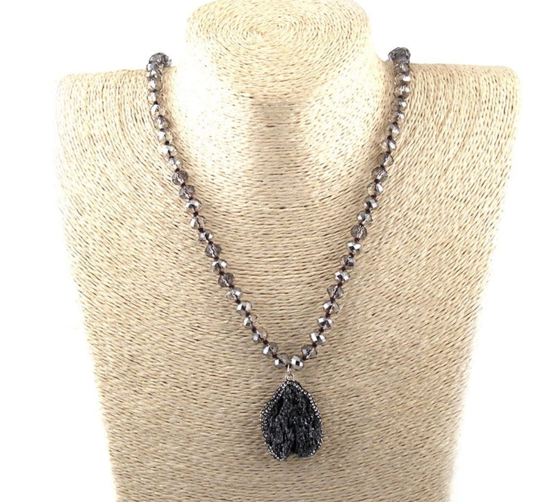 Charcoal Druzy Beaded Necklace