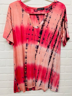 Sunny Days Coral Tie Dye tee