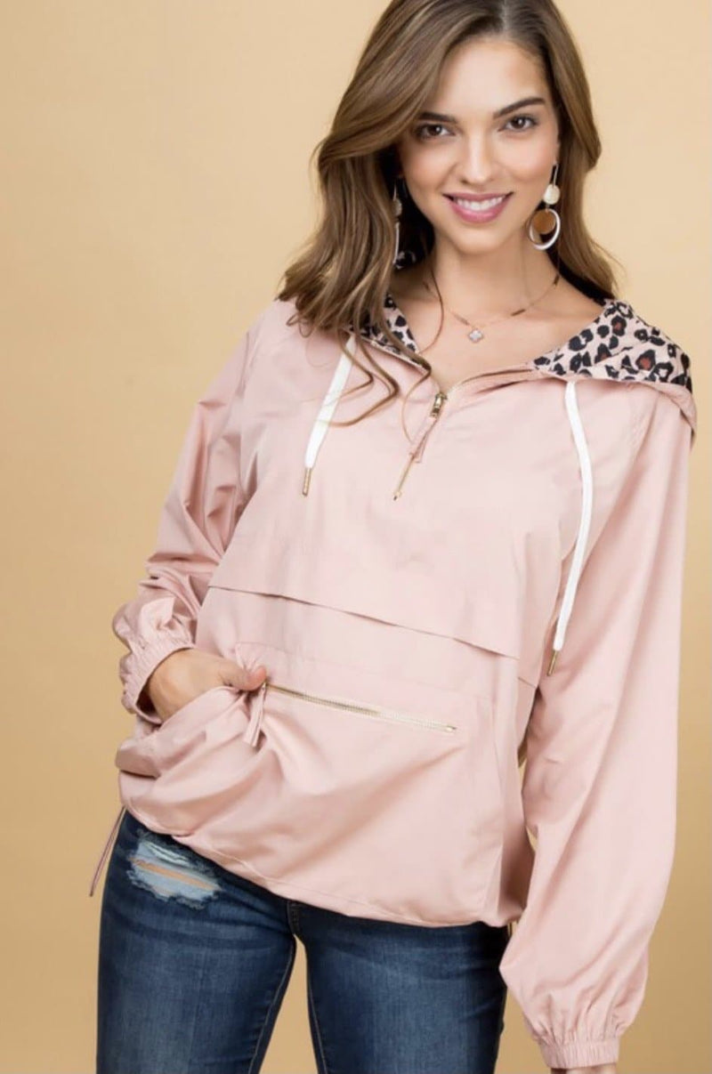 Blush Leopard Windbreaker