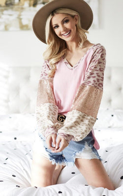 Blush Sequin Waffle top