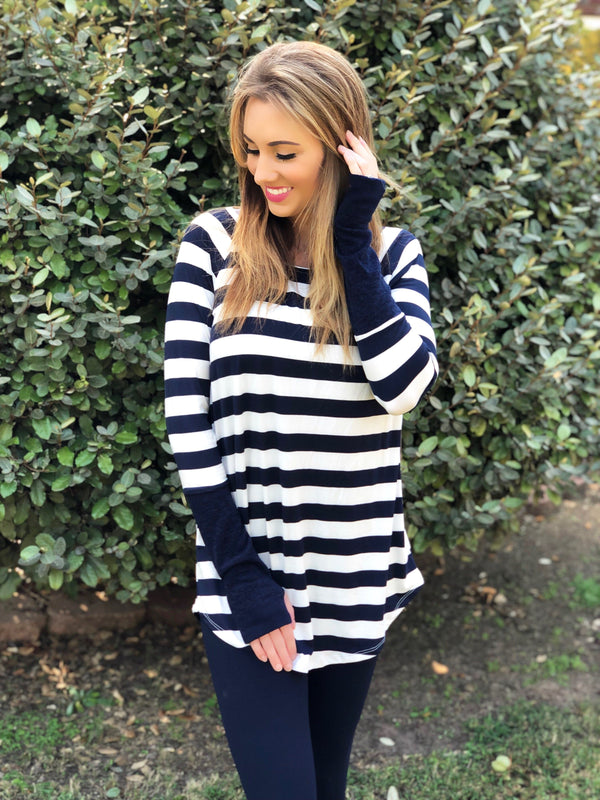 Call Me Navy Striped Tunic Top - Trophy Wife Boutique