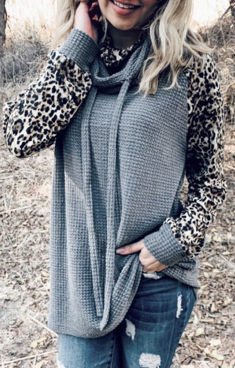 Charcoal Leopard Waffle Pullover