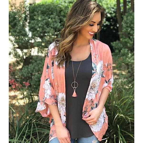 Dark Magnolia Blooms Kimono - Trophy Wife Boutique