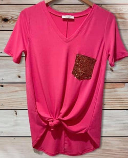 Pink Sequin Pocket Tee