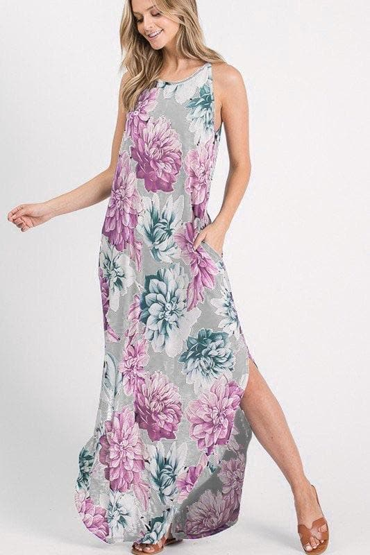 Gray + Orchid Floral Maxi Dress