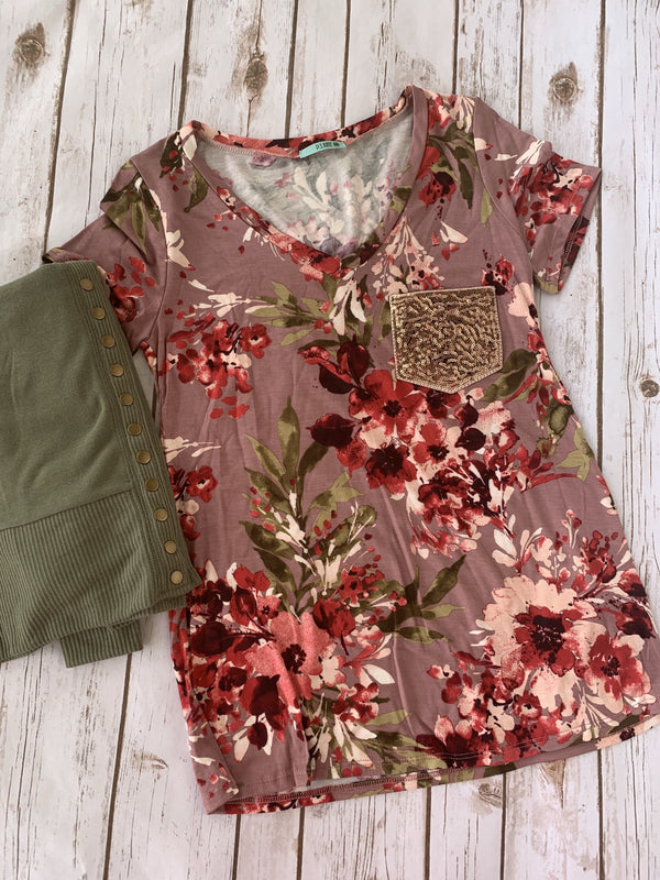 Mauve floral sequin pocket tee