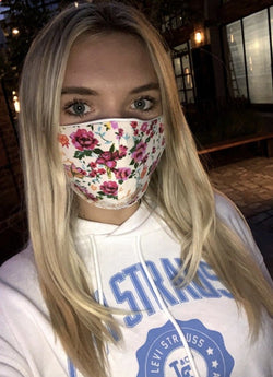 Ivory Floral Washable Masks - Adults and Kids - Trophy Wife Boutique
