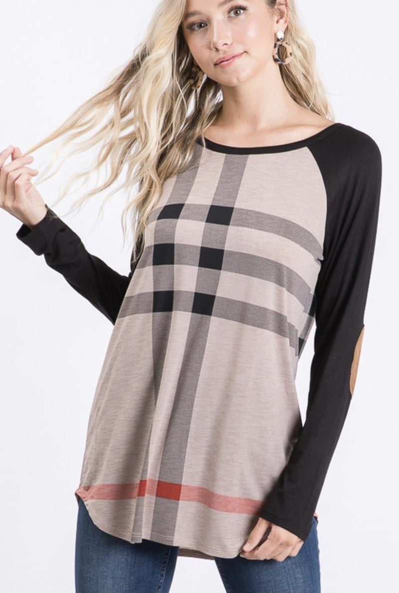 Plaid Elbow Patch Top WS