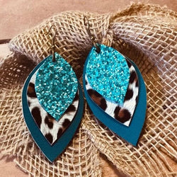 Teal Glitter Leopard Leather Earrings - Trophy Wife Boutique