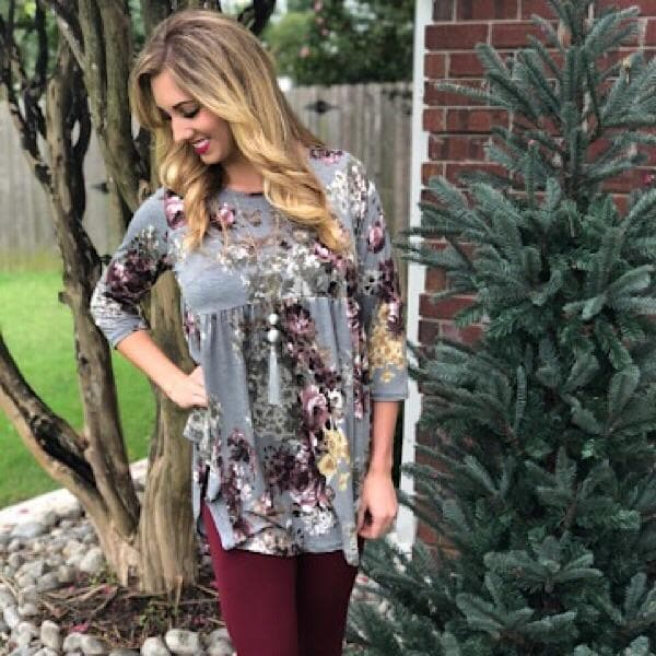 Ariana Gray Floral Top or Set - Trophy Wife Boutique