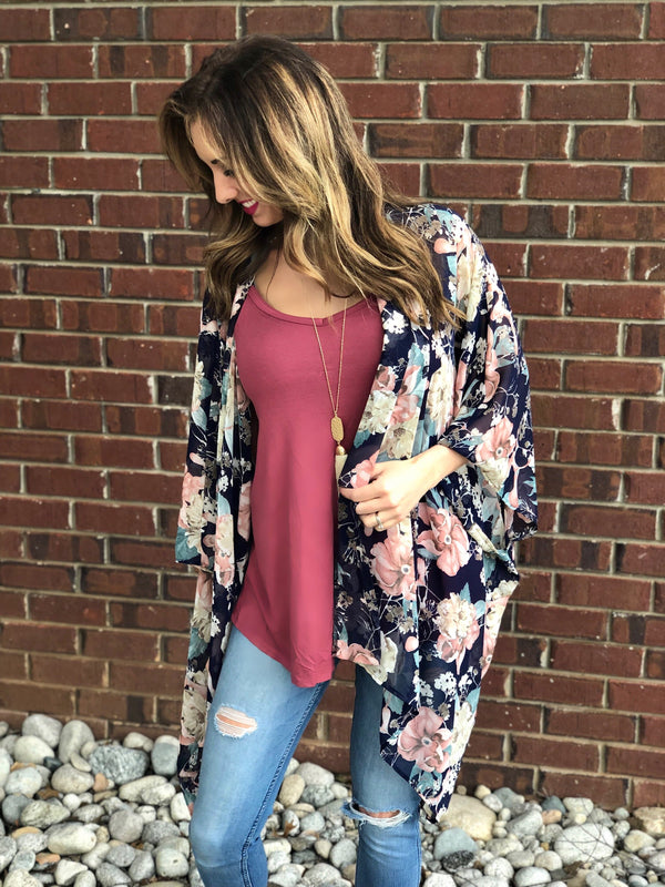 Restock Nicole Navy Floral Kimono or Set - Trophy Wife Boutique