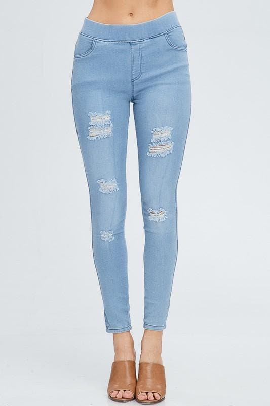 Distressed Jean Leggings
