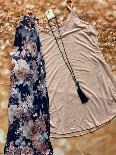 Navy Blush Floral kimono or set - Trophy Wife Boutique
