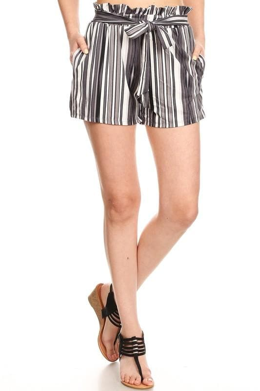 Live out Loud Grayed Paperbag Shorts - Trophy Wife Boutique