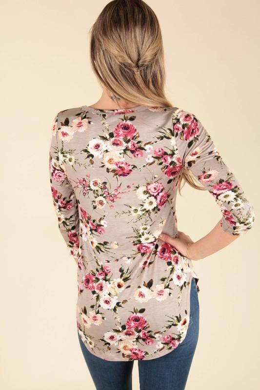 Taupe Floral Top - Trophy Wife Boutique