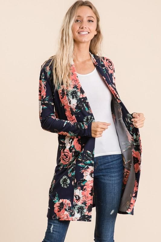 Navy Floral Cardigan - Trophy Wife Boutique