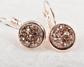 Rose Gold Druzy Earrings - Trophy Wife Boutique