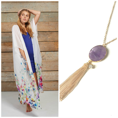 Feminine kimono with purple accented jewellery