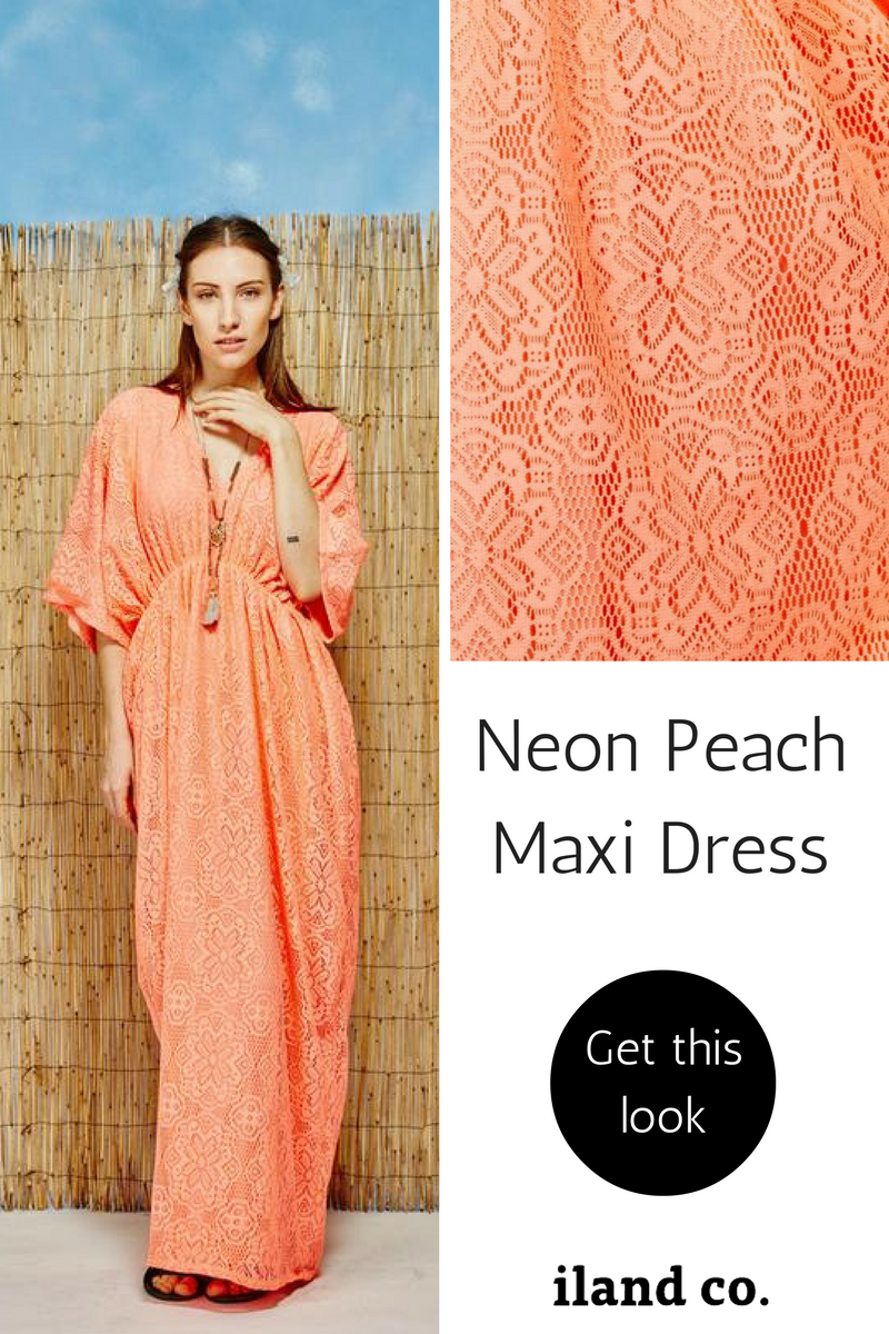 Neon Peach Maxi dress - iland co